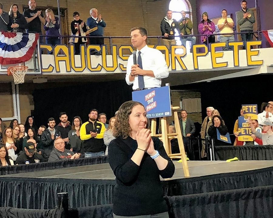South Bend Mayor and Democratic presidential candidate Pete Buttigieg speaks Saturday in Dubuque, Iowa.