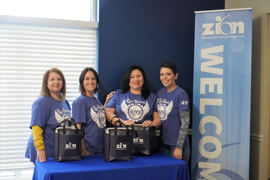 From left to right: Lissette Rosa, Mercedes Cruz, Mildred Acevedo, and District 6 Superintendent Dr. Keely Roberts (Paige Phelps | Zion Elementary School District 6)