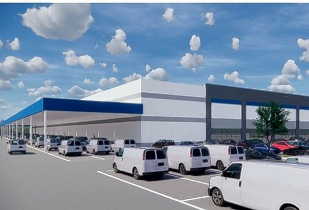 This is an artist's rendering for a warehouse and distribution center at 317 S. Hicks Road in Palatine approved by the village council this week. The project's developer says the company that would occupy the building must remain a mystery to the public for now. The property borders Northrop Grumman Corp. in Rolling Meadows.