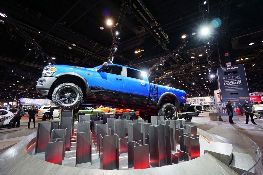 The RAM truck indoor display features a range of vehicles at the Chicago Auto Show at McCormick Place.