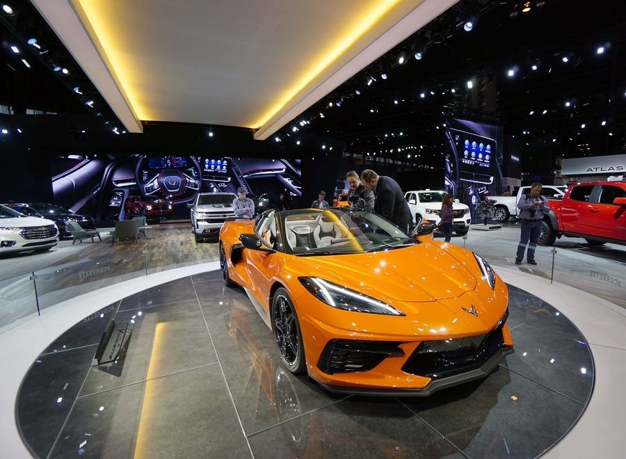 The 2020 Corvette is a draw during the Chicago Auto Show media preview at McCormick Place in Chicago Thursday.