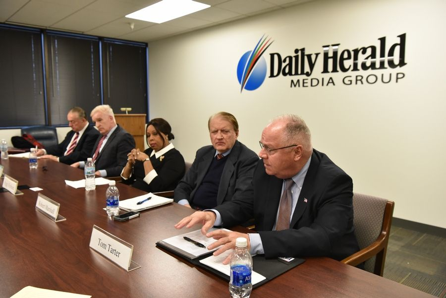Republican U.S. Senate candidates, from left, Casey Chlebek, Mark Curran Jr., Peggy Hubbard, Robert Marshall and Tom Tarter participated in a Daily Herald endorsement interview in January. You can watch it at dailyherald.com/video.