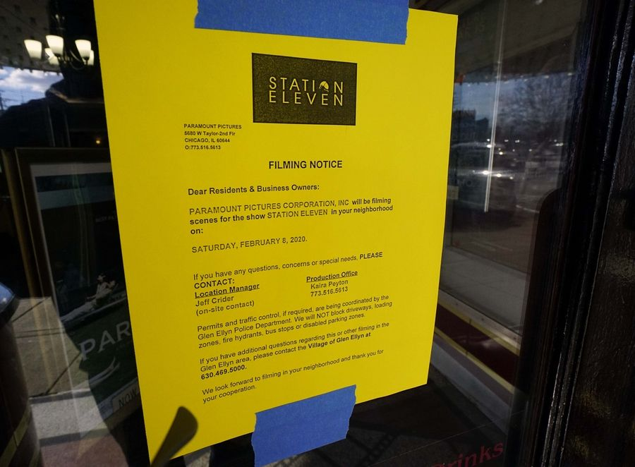 "Paramount Pictures is filming ""Station Eleven"" at the Glen Art Theatre Saturday."