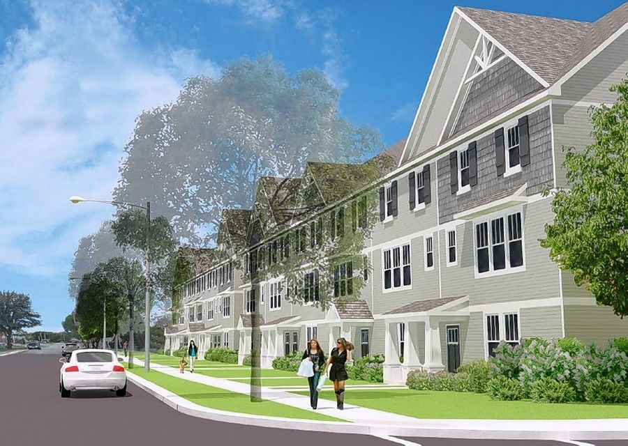An artist's rendering shows the west side of the proposed 106-unit Meadow Square townhouse subdivision on the former Dominick's property in Rolling Meadows. A new developer will build the houses starting this spring.