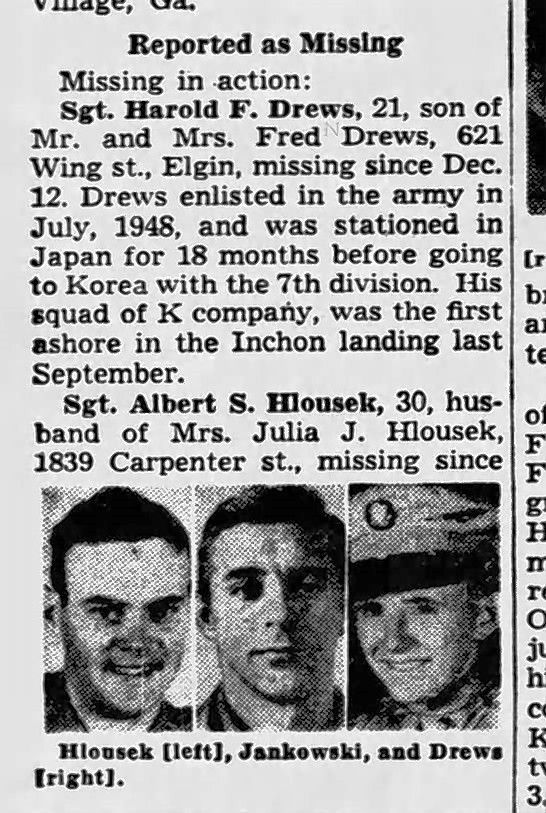 An old newspaper clipping reports Elgin resident Harold F. Drews as missing in action in the Korean War.