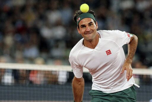 Roger Federer in action during the exhibition tennis match against Rafael Nadal held at the Cape Town Stadium in Cape Town, South Africa, Friday Feb. 7, 2020.
