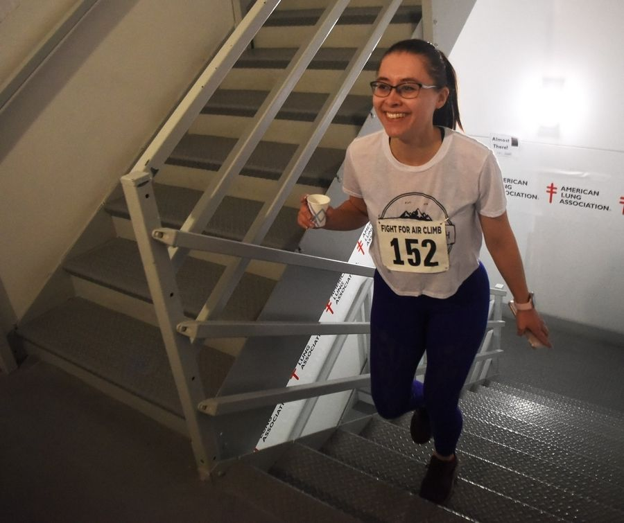 Marija Triukaite of Naperville ascends 31 flights of stairs during the American Lung Association Fight for Air Climb at the Oakbrook Terrace Tower Saturday.