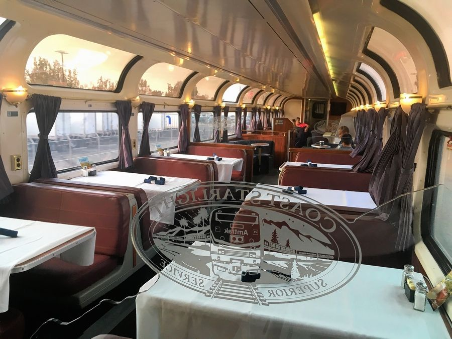 The dining car of Amtrak's Cost Starlight train near Los Angeles.