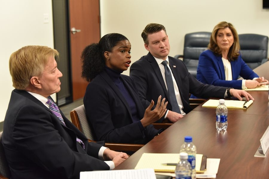 Democratic candidates for the office of Cook County state's attorney Bob Fioretti, left, Kim Foxx, Bill Conway and Donna More -- debate the issues during a meeting with the Daily Herald editorial board.