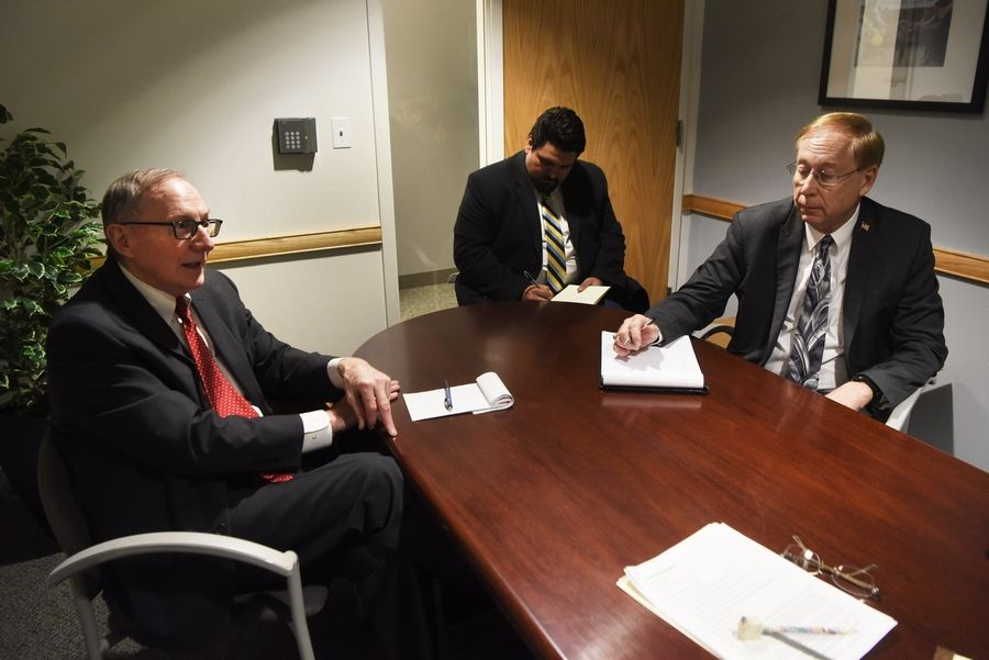 "Republican candidates for the office of Cook County state's attorney -- Patrick W. ""Pat"" O'Brien, left, and Christopher E. K. Pfannkuche -- discuss issues with the Daily Herald editorial board."