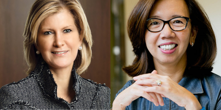 Woodlands Academy's March 12 forum will feature Mary Erdoes, chief executive officer of JPMorgan Chase & Co.'s asset and wealth management division, left, and Wan Ling Martello, co-founder and partner at BayPine, a private equity firm.Woodlands Academy