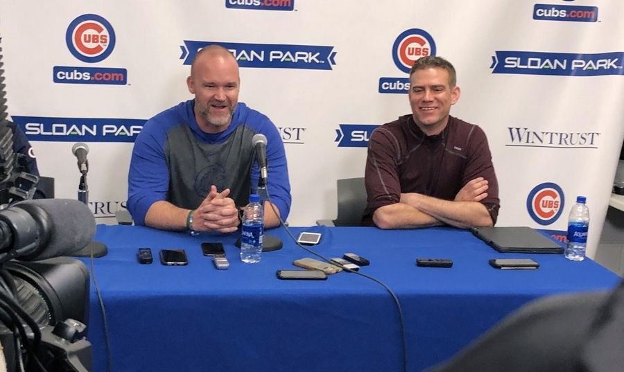 Scot Gregor/sgregor@dailyherald.com David Ross and Theo Epstein today in Mesa.