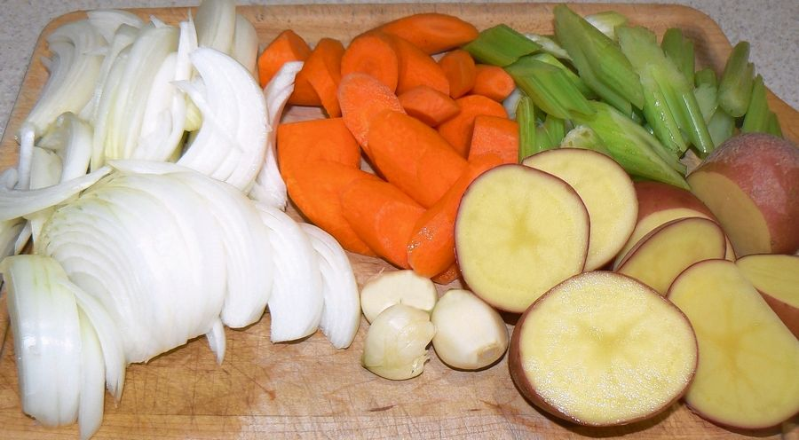 Vegetables sit ready for the pot.