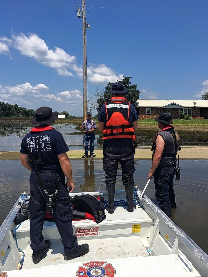 Elk Grove Village firefighters were among first responders to travel by boat to help residents impacted by floods in downstate Calhoun County last summer.