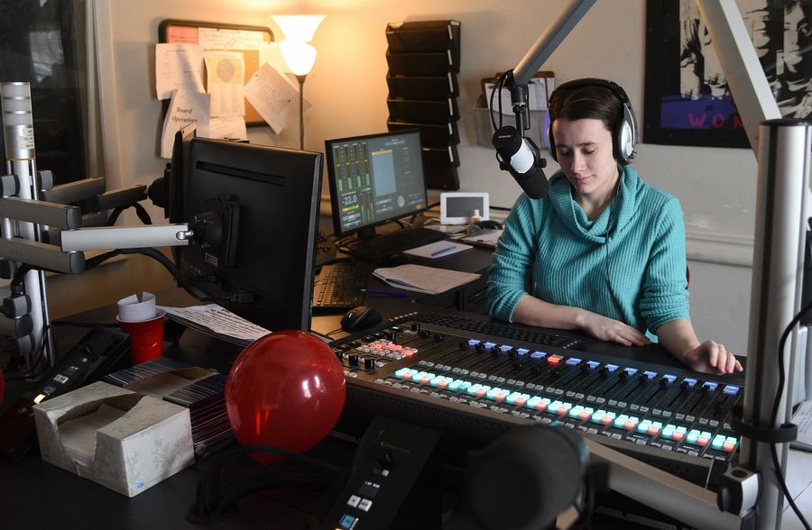 Freshman Graycen Mylott of Elgin works the board Tuesday at WONC 89.1 FM, North Central  College's student-run radio station in Naperville. The station hosted an open house in  celebration new digital equipment.