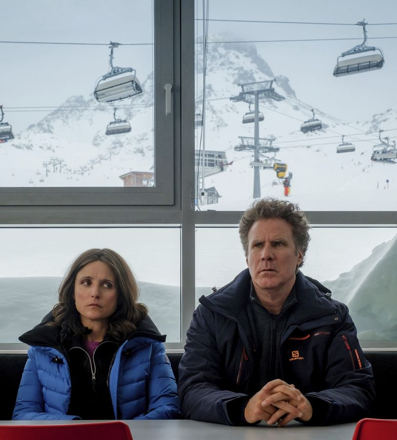 "A vacationing American married couple (Julia Louis-Dreyfuss and Will Ferrell) begin to question their relationship in ""Downhill,"" a remake of the Swedish film ""Force Majeure."""