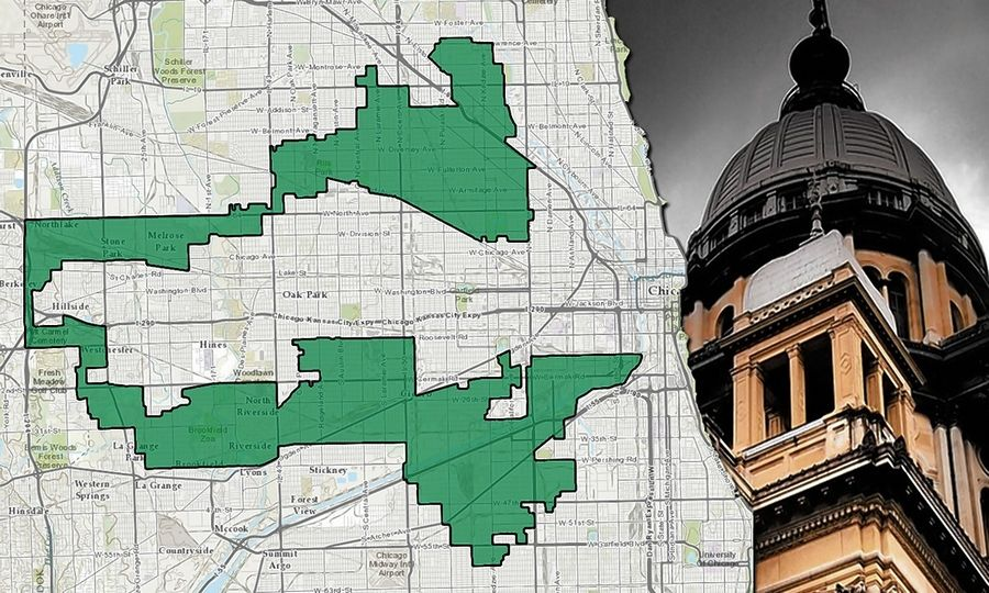 Illustration by Ben Orner/Capitol News IllinoisIllinois' 4th Congressional District was named one of the nation's most gerrymandered by the Washington Post in 2014.
