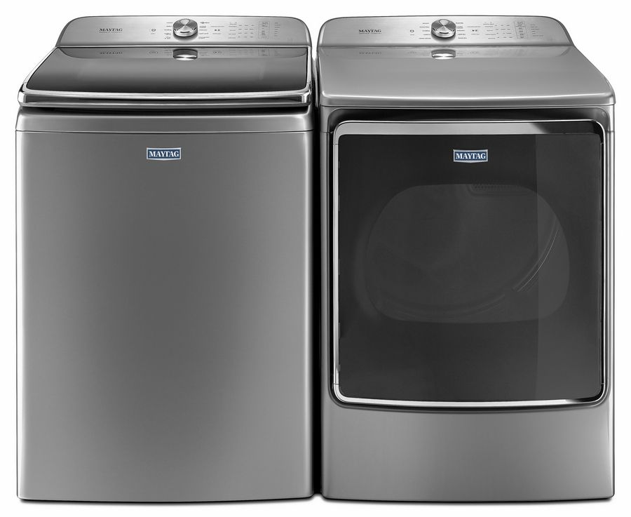 The Maytag Top Load Washing Machine with Extra Large Capacity and the Electric Vented Dryer with Extra Moisture Sensor.
