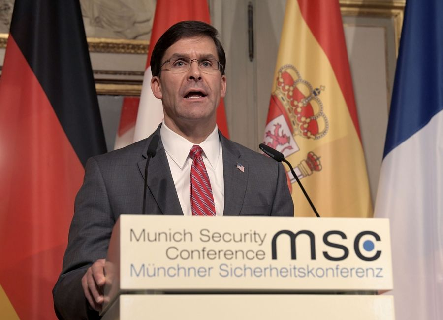 U.S. Secretary for Defense Mark Esper speaks during a press conference on the first day of the Munich Security Conference in Munich, Germany, Friday, Feb. 14, 2020.