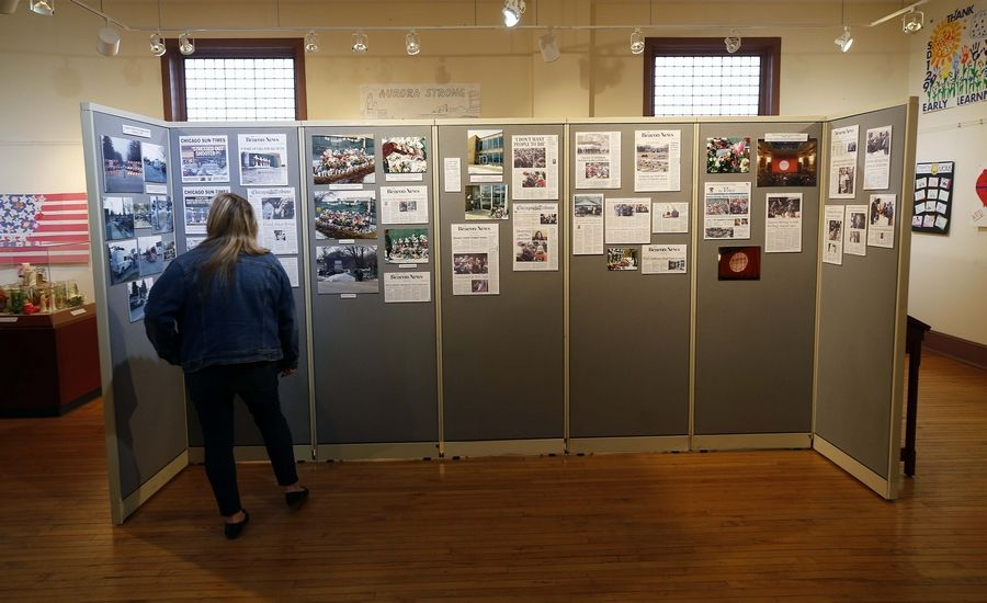 The exhibit marking the anniversary of the shootings at the Henry Pratt Co is on display at the Pierce Art and History Center, 20 E. Downer Place, in Aurora.