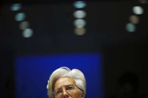 European Central Bank President Christine Lagarde addresses European Parliament lawmakers during a monetary dialogue meeting at the European Parliament in Brussels, Thursday, Feb. 6, 2020.
