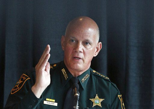 FILE - In this July 10, 2018, file photo, sheriff and chairperson, Bob Gualtieri, of Pinellas county, Fla., speaks during a state commission meeting as they investigate the Marjory Stoneman Douglas High School massacre, in Sunrise, Fla. After a gunman with a history of psychotic behavior killed 17 at a Florida high school two years ago Friday, state lawmakers quickly passed a so-called red flag law that makes it possible for judges, at the request of law enforcement, to ban anyone deemed to be a danger to themselves or others from owning firearms for a year.