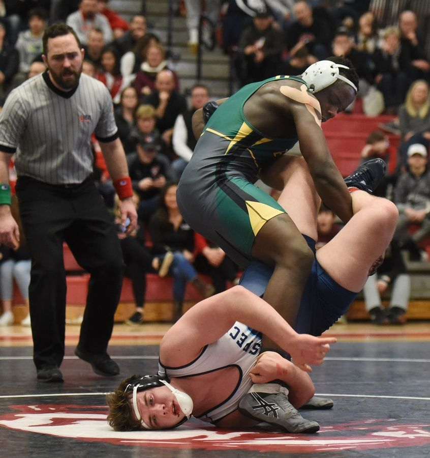 Fremd's Isiah Pettigrew, top, defeats Prospect's Caleb Smith in the 195-pound final during the Barrington wrestling sectional Saturday.