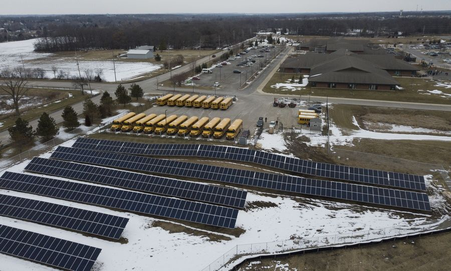 Solar panels installed at Big Hollow Elementary School District 38 are expected to provide about 85% of the energy needed on the Ingleside campus.
