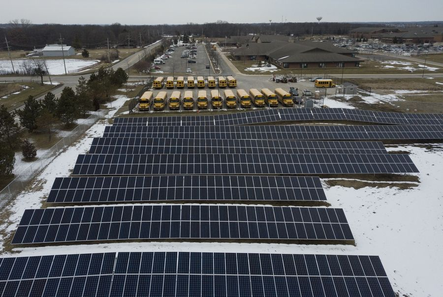 Solar panels have been installed at the Big Hollow Elementary School District 38 campus in Ingleside through a project that started with a pitch from fourth-graders to the district's school board. Officials say the panels will save the district about $90,000 a year.
