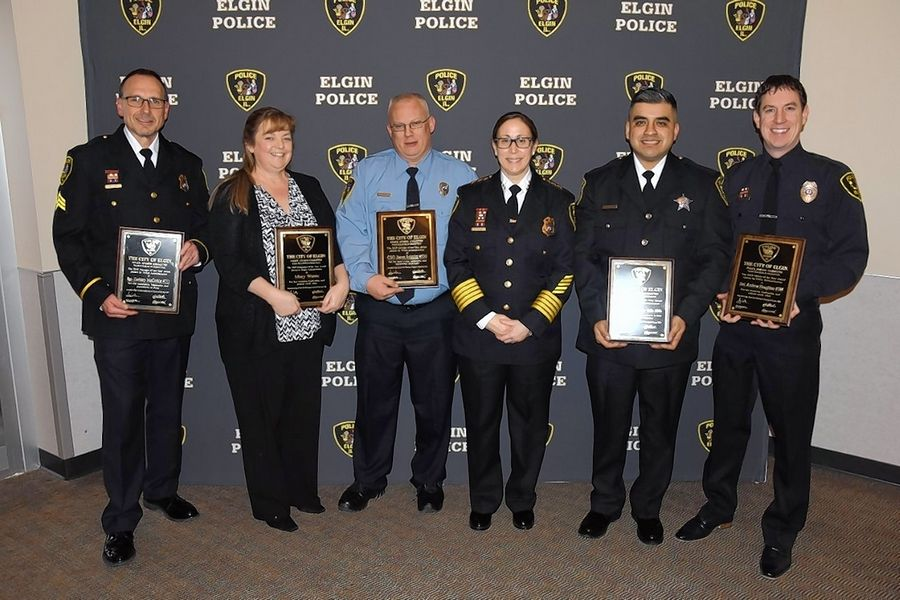 The Elgin Police Department gave out its annual awards on Jan. 30. From left, Manager of the Year, Sgt. Zack McCorkle; Dispatcher of the Year Mary Wanic; Civilian of the Year community service officer Jason Schultz; Rookie of the Year officer Christopher Valle; and Officer of the Year Detective Andrew Houghton.