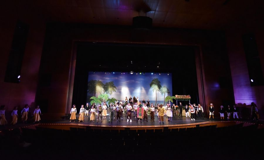 "All of the 63 Seth Paine Elementary School student actors perform on stage during a dress rehearsal of ""Madagascar: A Musical Adventure JR."" at Lake Zurich High School Tuesday."
