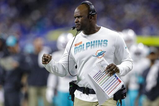 FILE - In this Nov. 10, 2019, file photo, Miami Dolphins head coach Brian Flores watches from the sidelines during the first half of an NFL football game against the Indianapolis Colts in Indianapolis. Pro football is discovering that the spirit of the Rooney Rule is being violated.  NFL Commissioner Roger Goodell made that a point of emphasis in his state of the league speech during Super Bowl week. So count on Goodell finding ways to more strongly implement the policy that requires teams to interview minority candidates for coaching and executive positions.