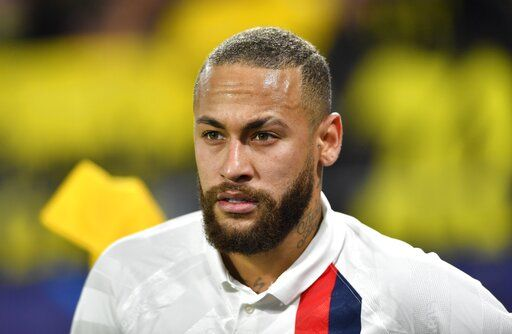 PSG's Neymar during the Champions League round of 16 first leg soccer match between Borussia Dortmund and Paris Saint Germain in Dortmund, Germany, Tuesday, Feb. 18, 2020.