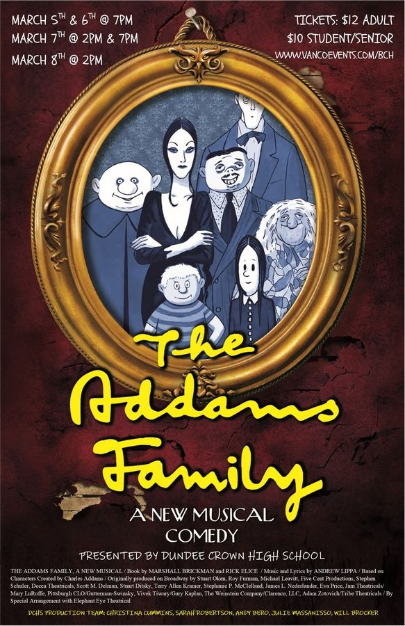 "On March 5-8, Dundee-Crown High School in Carpentersville will put on the musical comedy ""The Addams Family, A New Musical."""