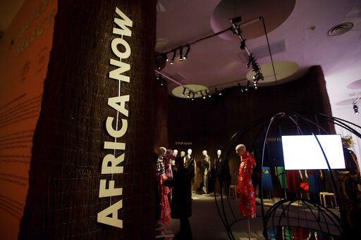 Creations of various African designers are displayed at a fashion hub in Milan, Italy, Wednesday, Feb. 19, 2020. Italy's Chamber of fashion dedicate at a space at a fashion hub, to a selection of young African brands belonging to a new generation of designers embodying the powerful identity of African fashion.
