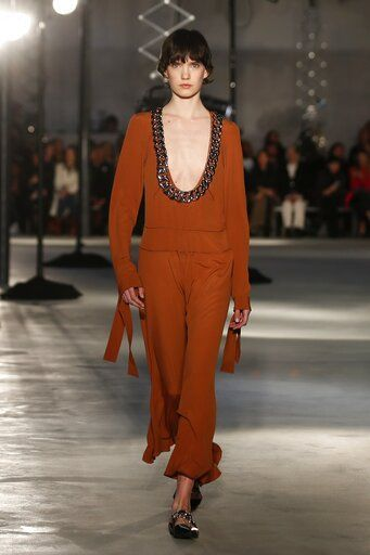 A model wears a creation as part of N. 21's Fall/Winter 2020/2021 collection, presented in Milan, Italy, Wednesday, Feb. 19, 2020.