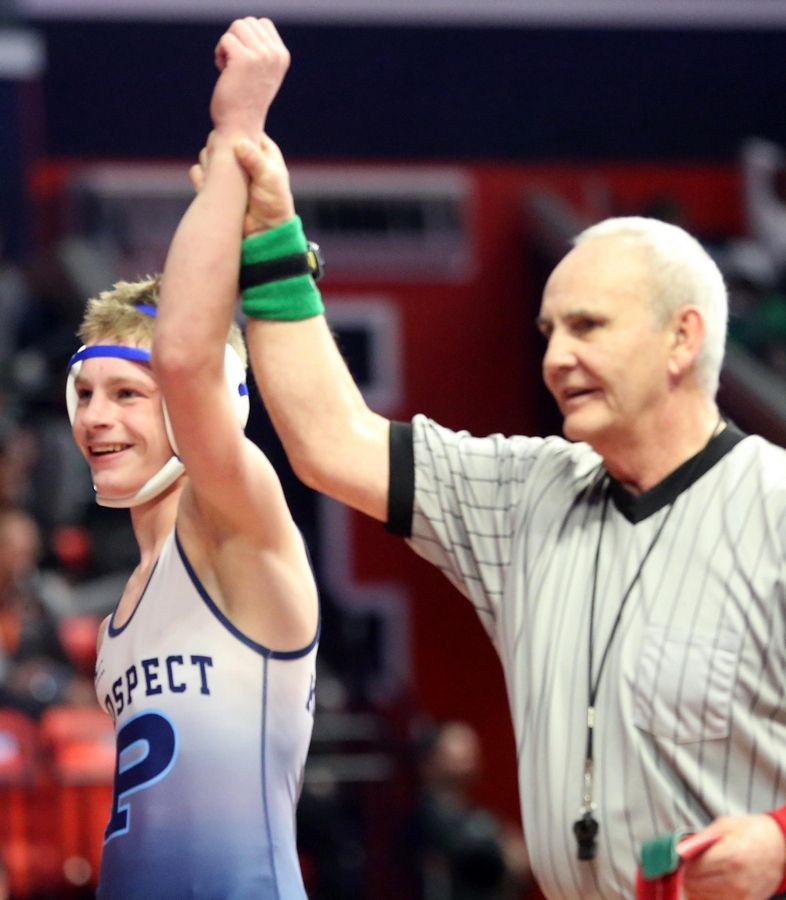 Prospect's Will Baysingar bested Dekalb's Ben Aranda in the Class 3A 3rd place match at 106 pounds during the State Final Tournament in Individual Wrestling on Saturday at State Farm Center on the campus of the University of Illinois in Champaign.