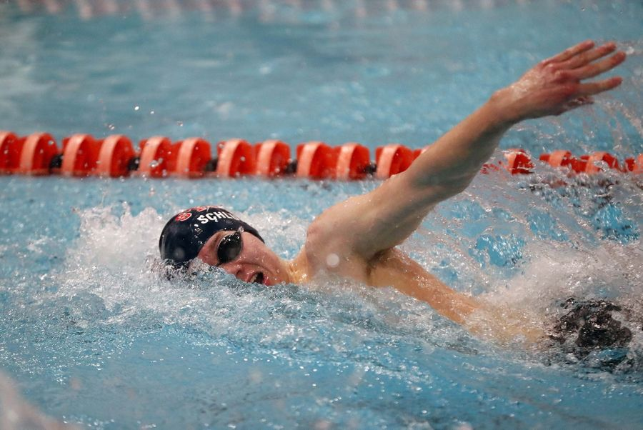 Alexander Schlueter of South Elgin High School competes in the Boys 100 yard Freestyle race Saturday February 22, 2020 during the IHSA Boys Swim and Dive Sectional Championship meet at St. Charles East High School.