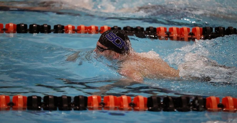 Srboljub Filipovic,  of St. Charles North competes in the Boys 200 yard Individual Medley race Saturday February 22, 2020 during the IHSA Boys Swim and Dive Sectional Championship meet at St. Charles East High School.
