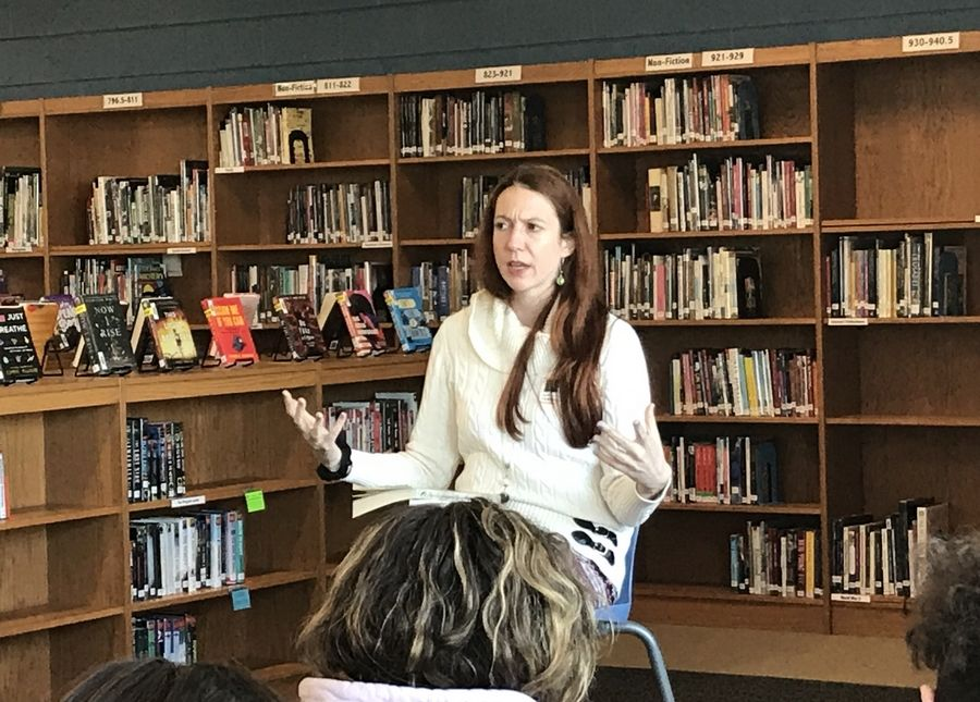 Jessica Stilling Sticklor, a 2001 McHenry High School graduate, visited both East Campus and West Campus on Feb. 21 to talk about her journey to becoming a published author.
