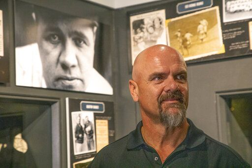 "In this photo provided by the National Baseball Hall of Fame and Museum, Larry Walker tours of the of the National Baseball Hall of Fame and Museum, Tuesday, Feb. 25, 2020, in Cooperstown, N.Y. Walker said on Tuesday that his Hall of Fame plaque will show him in Colorado Rockies cap, not a Montreal Expos hat. He added the key to picking the Rockies is that Colorado was ""where the majority of my damage was done."" (Milo Stewart, Jr./National Baseball Hall of Fame and Museum via AP)"