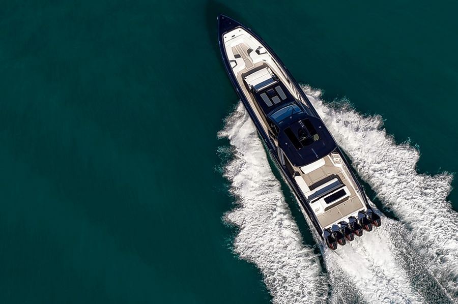 The Tirranna AMG Edition yacht is 59 feet long and powered by six Mercury Racing V-8 outboard engines.