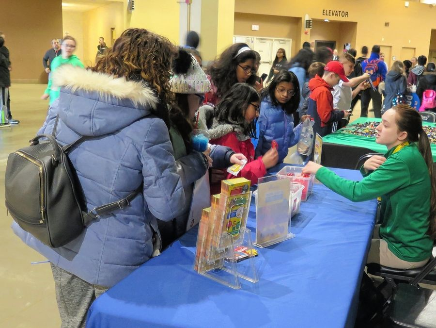 The concourse was filled with activities, fun and information for kids during the Windy City Bulls Education Day on Thursday, Feb. 20.