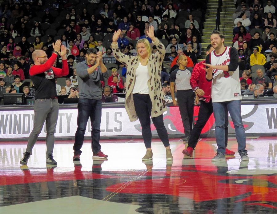 Students had fun interacting with their teachers who were on center court for various activities during the Education Day game at the Windy City Bulls.
