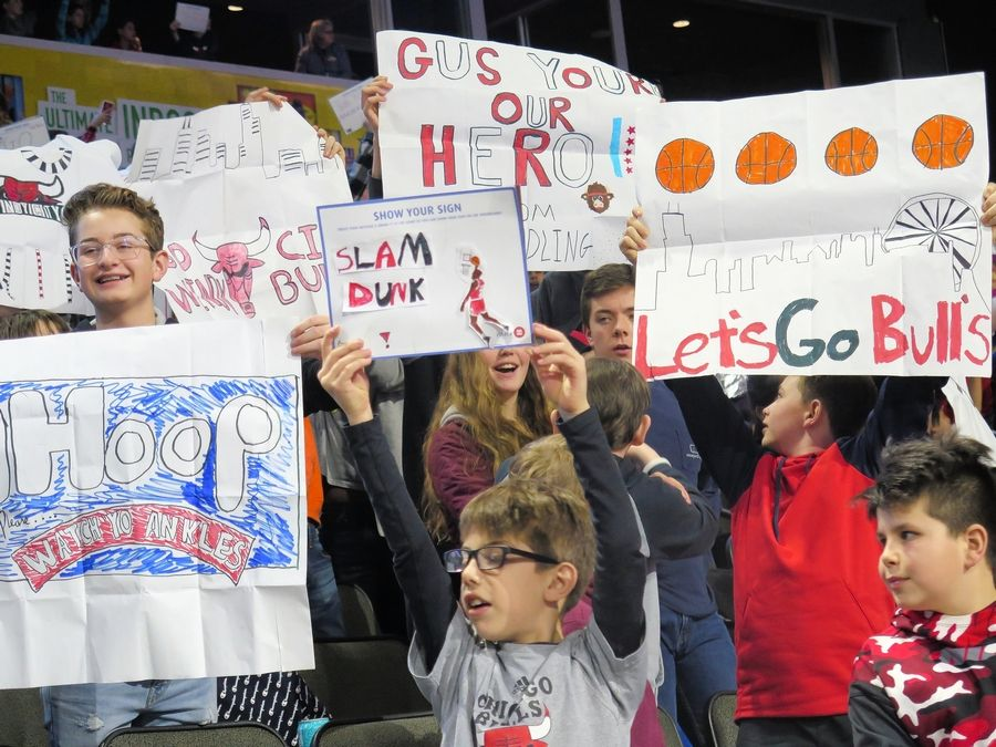 Kids had fun making spirit signs at the Windy City Bulls game Feb. 20.