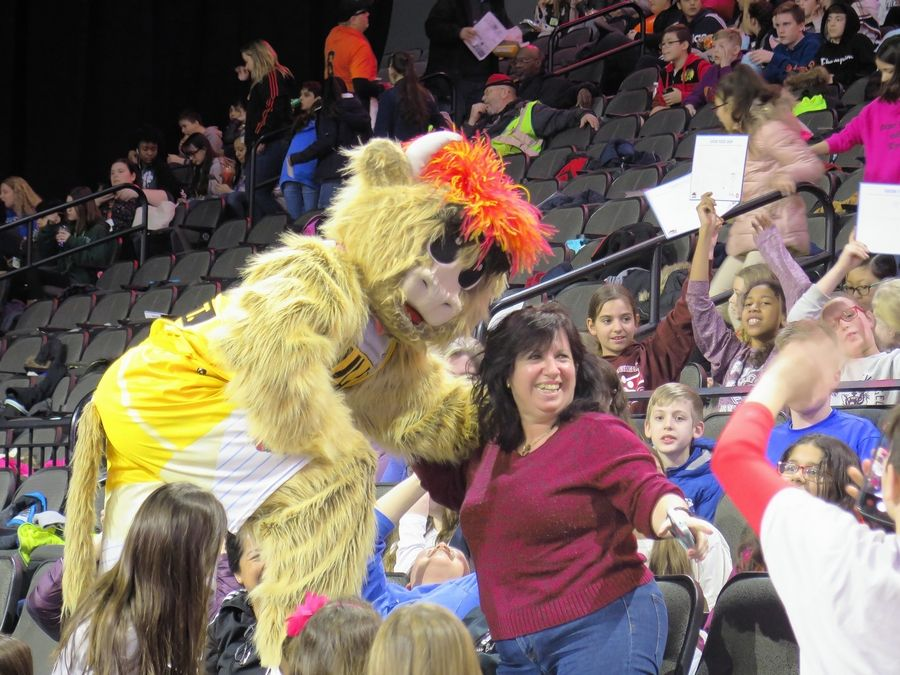 Windy City Bulls mascot Gus T. Bull was in top form for the Education Day game, getting kids involved in the spirit of the day.