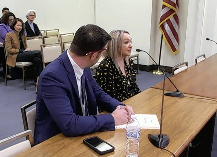 Joliet resident Cassandra Tanner-Miller tells lawmakers in Springfield about the domestic violence that claimed the life of her 18-month-old son in 2019. Sitting with Tanner-Miller is state Rep. David Welter, a Morris Republican whose bill to create a task force to close criminal justice loopholes in domestic violence cases was advanced Wednesday by a House committee.