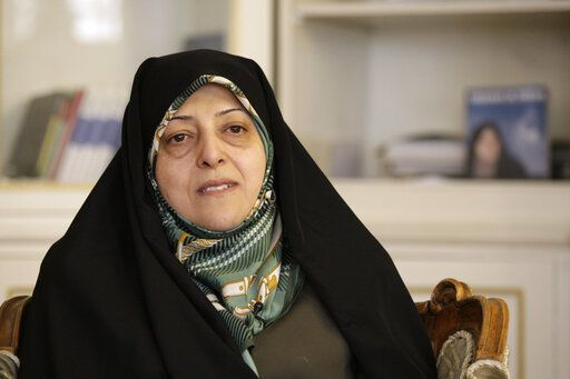 FILE - In this Feb. 14, 2013 file photo, Iranian Vice-President Masoumeh Ebtekar gives an interview to The Associated Press, in Tehran, Iran. On Thursday, Feb. 27, 2020, the English-language IRAN daily newspaper via its Twitter account, said Masoumeh Ebtekar, a vice president in the Islamic Republic and a spokeswoman for the 1979 hostage-takers, has the new coronavirus.