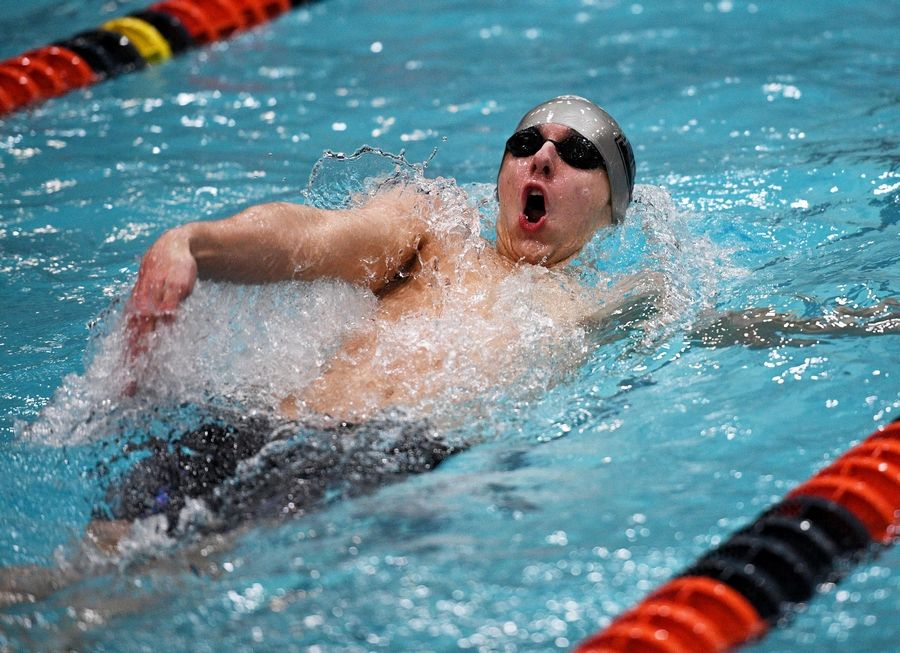 Barrington's Griffin O'Leary competes in the 100-yard backstroke at the IHSA state boys swimming preliminaries in Evanston on Friday.