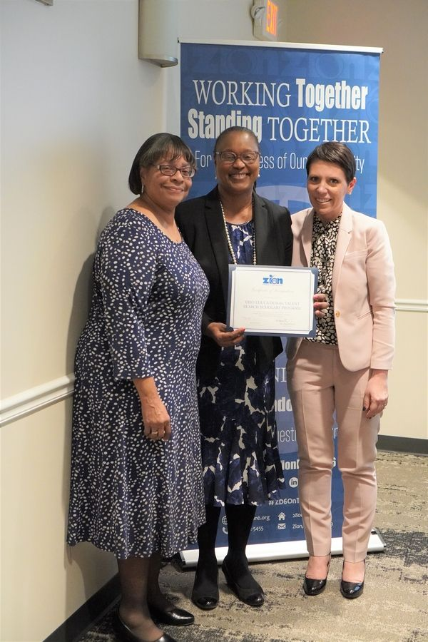 From left to right: Leatrice Williams, Dr. Sharon Sanders-Funnye, and District 6 Superintendent, Dr. Keely Roberts (Paige Phelps | Zion Elementary School District 6)